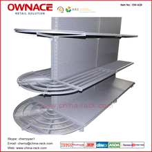 OW-A29 OW-A29 New Style de Supermarket Equipmenet, Semicircle Net Wire Shelf para Tego Gondola Supermarket Shelf